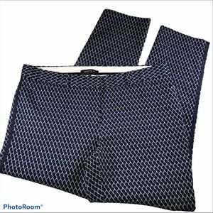 LAFAYETTE 148 Navy Lattice Print Ankle Pants Sz 12